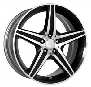 Performance Replicas Wheels - Style  115 Gloss Black/Machined Spokes and Lip AMG Replica